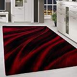 HomebyHome Alfombra Shaggy Moderno Lienien Shade Pattern Sala de Estar Rojo Negro, tamaño:200x290 cm