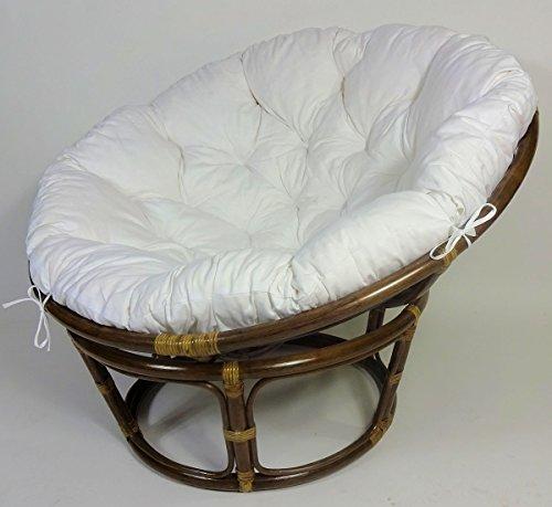 Rattan Papasan Sessel inkl. hochwertigen Polster, D 115 cm, Fb. Darkbrown, Polster weiß