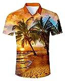 IDGREATIM Hawaiihemd Premium 3D Bunte Bedruckte Kurze Ärmel Button Down Hemden Shirts für Männer