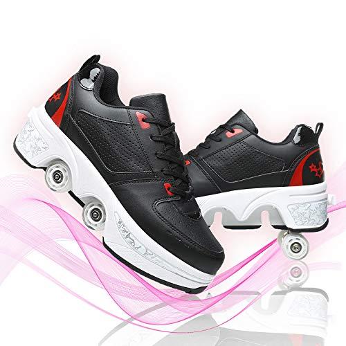 Dytxe-shelf Patines De Ruedas Niños Patines Casual Multiusos 2 En 1 Doble Utilizar Polea Zapatos Deformación Moda Zapatilla De Deporte para Hombres Mujeres