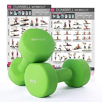 KG Physio Mancuernas De Neopreno De Calidad Profesional Juego De 2 Pesas (#6 (2 x 6kg) Verde)