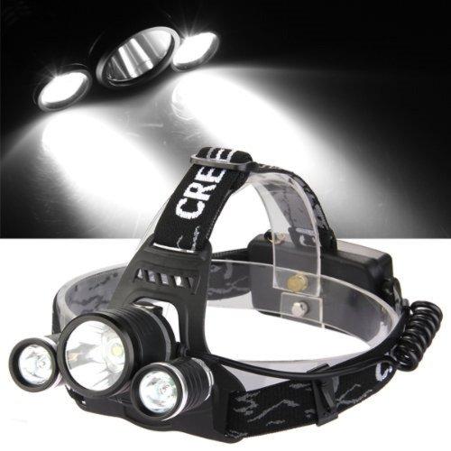 CASCO Linterna de Cabeza CON Soporte Para Bicicleta Led CREE XML T6-1800LM...