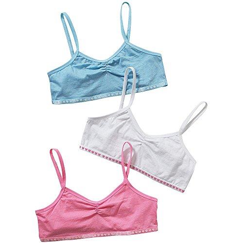 Just Essentials Girls Back to School 3 Pack Cotton Crop Bra Tops UK Seller...