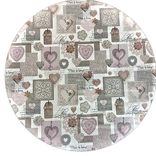 linen702 Vinyl Pvc Tablecloth 54 inch Round (137cm) Wide This is Love in Pink and Grey Hearts. To fit up to a 4 Seater Size table, Wipe Clean, Textile Backed Plastic Table Cloth (248)