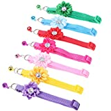 7 Pcs Breakaway Dog Cat Flower Collars with Bells Dogs Necklace Pet Adjustable Strap Puppy Safety Buckle Small Cats Handmade Bling Rhinestone Collar with Bell,Dog Harnesses Leashes Costume Accessory