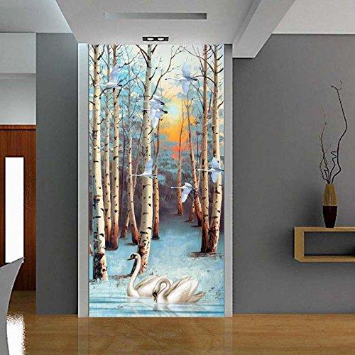 3D Wandbild Hintergrund bild Wallpaper er White Birch Forest Tree Swan Ölgemälde Lobby Inneneingang Korridor Wanddekor Tapete abmura 250cmx175cm