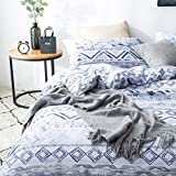 SLUMBERTOWN Boho King Duvet Cover Bedding Set - Indigo Blue, Gray & White Modern Watercolor Design with Chevron and Geometric Pattern – Luxury Aztec Bohemian Bedding with 300TC Egyptian Cotton