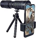 4k 1,1 Set Telescopio portátil de alta potencia HD para exteriores - Telescopio monocular con zoom súper teleobjetivo de -300x40 mm con trípode y clip para la mayoría de los teléfonos inteligentes