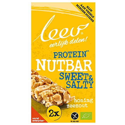 Leev 3625 Bio Nutbars Sweet & Salty Protein-Honey Sea salt - 80g (2x40g) - Multiset of 10 boxes