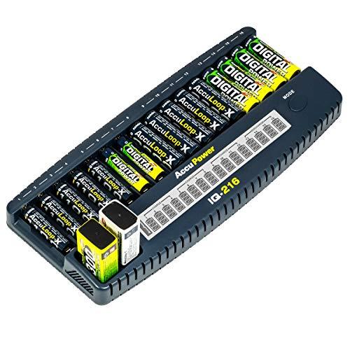 AccuPower IQ216 16-Kanal-Ladegerät NI-Cd/NI-MH für 16x AA/AAA und 2X 9V Akkus