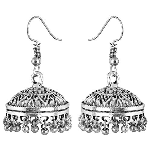 Saissa Silver Plated Oxidised Metal Bollywood Lightweight Small Jhumka Boho Earrings Indian Jewelry for Women