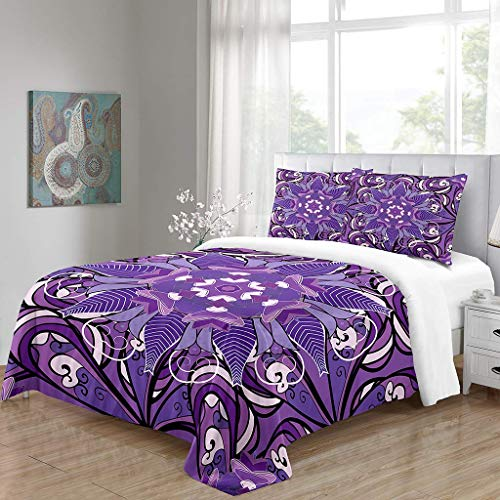 Simproude Quilt Duvet Cover and Two Pillowcases Ultra Soft Hypoallergenic Microfiber Bedding Set 3 pcs with Zipper Closure - pattern