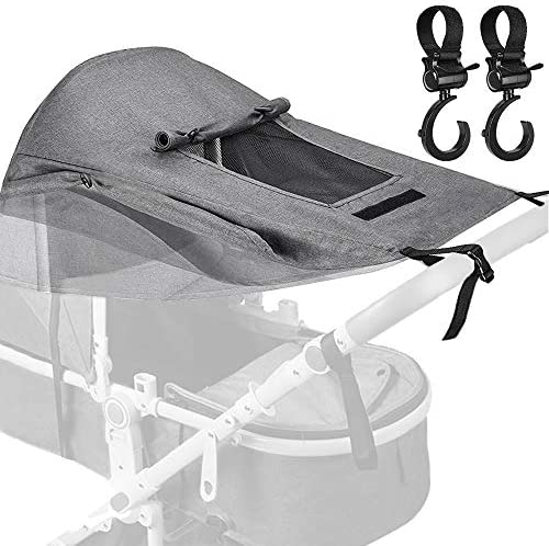 BYLaconic Sun Shade Stroller for Baby Gray with 2Pcs Hooks Universal Waterproof Stroller Sunshade product image
