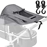 BYLaconic Sun Shade Stroller for Baby (Gray/with 2Pcs Hooks), Universal Waterproof Stroller Sunshade Cover Anti-UV 50+ with Viewing Window for Stroller