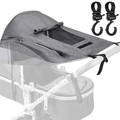 BYLaconic Sun Shade Stroller for Baby (Gray/with 2Pcs Hooks), Waterproof Sun Protection Stroller Shade Cover Anti-UV 50+ with Viewing Window for High Landscape Stroller