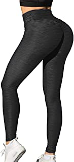 SEASUM Women's High Waist Butt Yoga Leggings Ruched Running Workout Textured Pants Booty Push Up