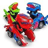 FOHYLOY Transformando Dinos Car, un Dinosaurio Que se balancea en un Auto de Carreras, un Juguete Educativo para nios y nias de 3 a 6 aos (Rojo)