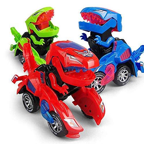 FOHYLOY Transforming Dinos Car, Giocattolo di Dinosauro Che dondola in Una Macchina da Corsa, Giocattolo educativo per Bambini, Ragazzi e Ragazze dai 3 ai 6 Anni (Rosso)
