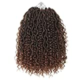 5packs NEW Goddess Locs Crochet Hair 14 Inch River Fauxs Locs Wavy Crochet With Curly Hair In Middle And Ends passion twist Synthetic Braiding Hair Extension. (14 inch, T30)