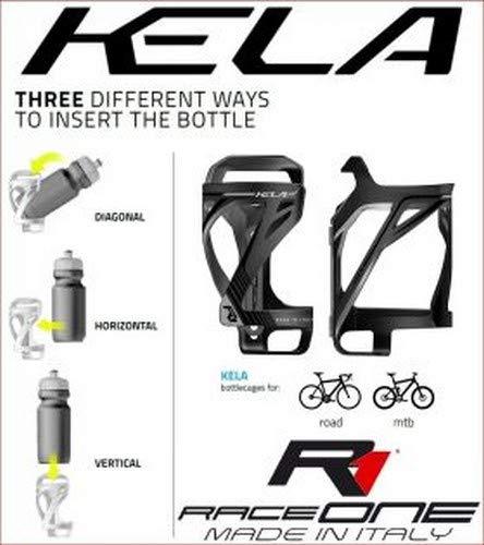 Raceone, Porta borracce per bicicletta Unisex adulto, Nero/Grigio, Unica