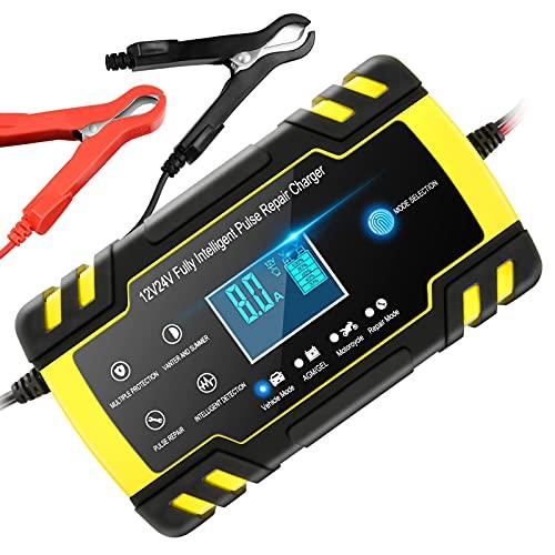 Chargeur de Batterie Intelligent 12V 24V 8A, Chargeur Batterie Mainteneur et Automatique Réparation Fonction Portable avec Écran LCD, pour Voiture Moto Camion, AGM, Gel, Wet, SLA(8-100AH) (jaune)