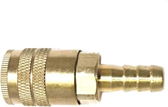 "Interstate Pneumatics CH463B 1/4"" Industrial Brass Coupler x 3/8"" Barb"