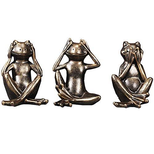 Ybzx No Evil Monkey Figurita Estatua, See No Evil Hear No Evil Speak No Evil Monkeys Escultura sentada Decoraciones para Sala de Estar, Adornos de Oficina en casa, Juego