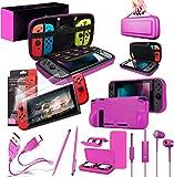 Orzly Switch Accessoires, Ultimate Pack pour Nintendo Switch [Pack Comprenant: Protecteurs d'écran en Verre Trempé, Housse (Étui Rigide pour Console), Comfort Grip Étui etc.] - Rose