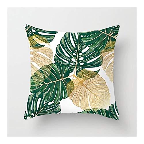 XIN NA RUI Fundas Cojines, 2 Piezas de Hoja de Cactus Tropical Monstera Cojín de poliéster Cojines del sofá Inicio decoración Decorativo Funda de Almohada (Color : C)