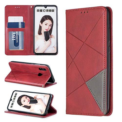 Dmtrab Phone Case for Huawei P Smart (2019) / Honor 10 Lite Case, Rhombus Texture Horizontal Flip Funda protectora de cuero con función de succión, soporte y ranuras para tarjeta Caja del teléfono fun