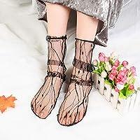 LFSHファッションマッチ 3組レースソックス網タイツ刺繍の高い魚女性純靴下足首ショートソックスフリルセクシー(スター) (色 : Branch)