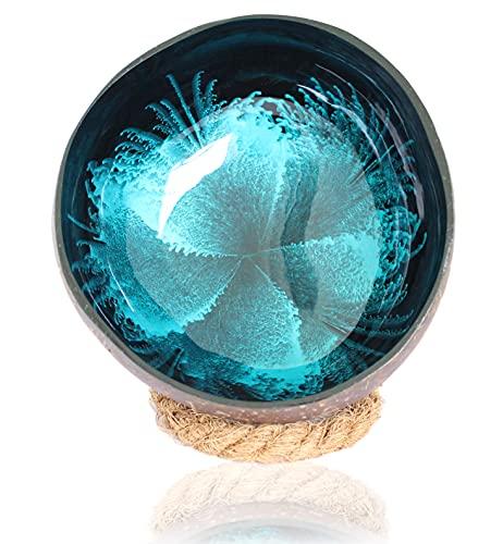 Batriozo Dekoschale - Echte Kokosnuss Schale - Aufbewahrungs Schale - Schlüssel und Schmuck Schale - Bowl Schüssel - Dekoration Wohnzimmer + Untersetzer - Blau