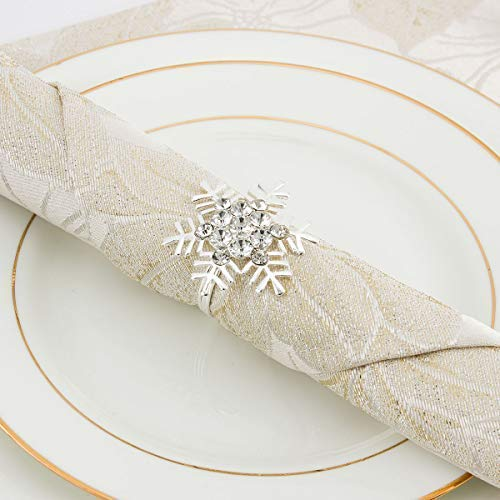 ANPHSIN Set of 8 Napkin Rings Dinning Table Setting for Casual or Formal Occasions- Snowflake Sliver