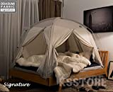 DDASUMI Fabric(Cotton Feeling) Signature Heating Tent (Single Bed, Grey) - 4Doors, Prevent Coldness, Play Tent