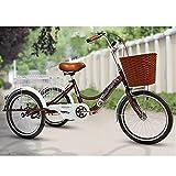 OHHG Triciclo Adultos 3 Ruedas Cesta la Compra 20 & # 34;Triciclo Adultos Bicicleta Crucero Pedal Bicicleta Adultos Ciclismo Compras Deportes Picnic al Aire Libre