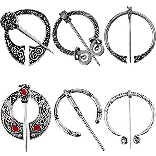 6 Pieces Vintage Viking Brooches Cloak Pins Celtic Scarf Shawl Buckle Medieval Clasp Pin Brooch Penannular Brooch for Jewelry Costume (Antique Silver)