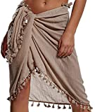 Tuopuda Mujeres Sarong de Playa Traje de baño Semi-Transparente Bikini Cover-Ups Pareo Chal Falda con borlas