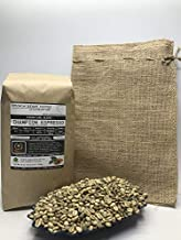 5 Pounds – Espresso Blend – Champion – Unroasted Green Coffee Beans – 3-Region Trio – Asia, Africa, South America – Flavor Profile Rich Earthy/Tobacco, Chocolate, Brown Sugar – Includes Burlap Bag