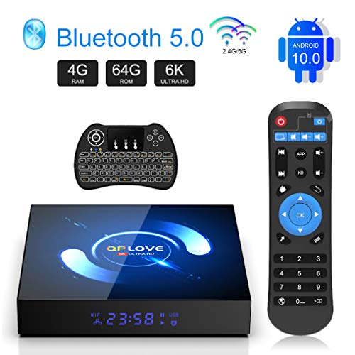 QPLOVE Android 10.0 TV Box 4GB Ram 64GB ROM 4K 6K Smart Android Box H616 64bit CPU HDMI2.0 H265 2.4G 5.0G WiFi 100M LAN BT5.0 Android TV Box with Backlit Wireless Keyboard