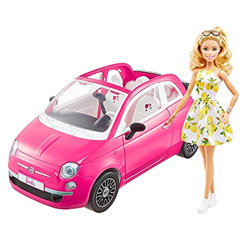 Barbie con su coche Fiat Muñeca rubia con vestido de moda y vehículo rosa de juguete, regalo para niñas y niños +3 años (Mattel GXR57)