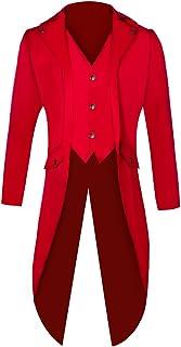 Bliefescher Herren Frack Steampunk Gothic Vintage Viktorianischen Cosplay Jacke Langer Smoking Jacke Uniform Mantel