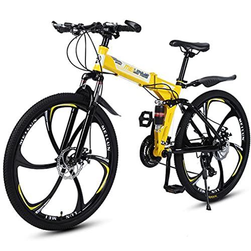 Bicicleta Montaña Plegable MTB 26 Pulgadas, Con Marco Acero Alto Carbono, Ruedas 6 Radios, Freno Disco Doble Y Bicicletas Dobles Antideslizantes, Para Hombres Y Mujeres Adultos,Amarillo,24 speed