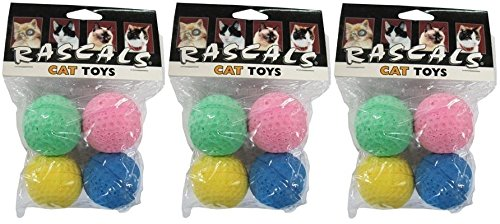 "Coastal Pet 1.5"" Sponge Ball Cat Toy Multi-Colors   4-Count per Pack   3-Packs"