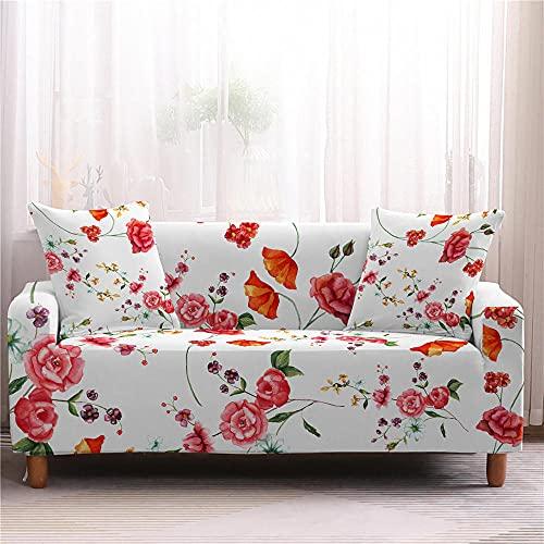 Sofaüberwurf 1/2/3/4 Sitzer, Weiß Färberdistel Sofabezug Stretch Weich Spandex Elastisch Sofa Überwürfe Sofahusse Couchbezug Sesselbezug für Sofa Couch und Sessel 90-130cm