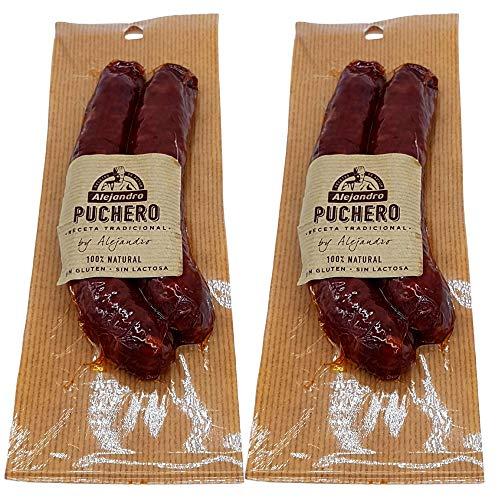 Chorizo Puchero Embutidos Alejandro - Lote 2 Chorizos Puchero Sin Gluten - Sin Lactosa - Chorizo de la Rioja - Siguiendo la receta tradicional con un ligero toque Picante
