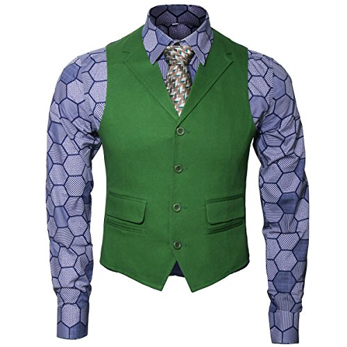 Adult Mens Knight Clown Costume Shirt Vest Tie Outfit Suit Set Fancy Dress Up Halloween Cosplay Props (Large, Shirt Vest Tie Set)