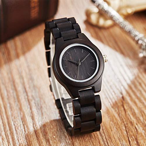 LCDIEB Reloj para Hombre con Caja de Madera Natural Vintage Redonda de Marca Superior con Cara de Madera de bambú de ébano con Correa de Madera de bambú de Cebra Movimiento japonés, Negro