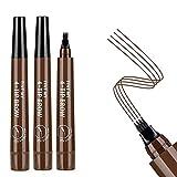 3PCS Dark Brown Eyebrow Pen - Waterproof Microblading Eyebrow Pencil,Long Lasting,Easily Create Natural Eyebrow Makeup