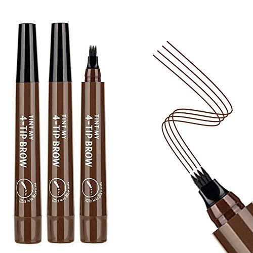 3PCS Dark Brown Eyebrow Pen - Waterproof Microblading Eyebrow Pen,Long Lasting,Easily Create Natural Eyebrow Makeup