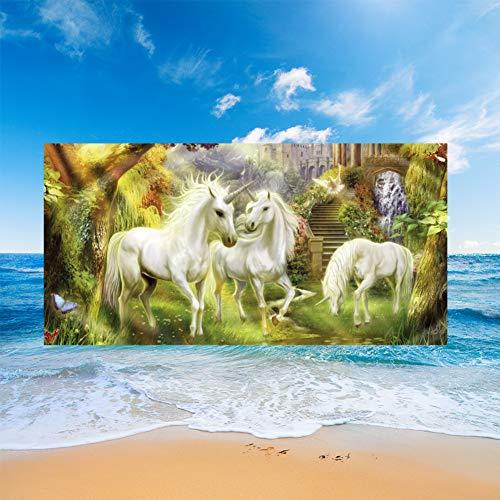 Toallas de Playa Flor 3D Unicornio Pastizales Steed Horse Printing XL XXL Toallas Estera de Playa Para Sauna Surf Viajes Yoga Viajes Playa Piscina Jardín Tumbona Estera (Multicolor 7,150 x 180 cm)